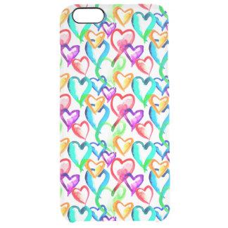 Capa Para iPhone 6 Plus Transparente Teste padrão colorido bonito dos corações da