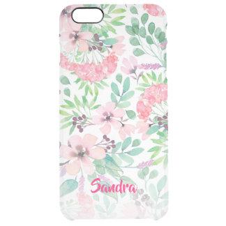 Capa Para iPhone 6 Plus Transparente Teste padrão de flores cor-de-rosa feminino