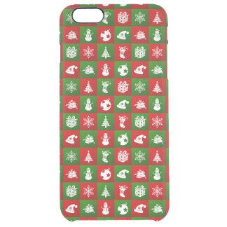 Capa Para iPhone 6 Plus Transparente Teste padrão do ano novo. Vermelho, verde, branco.