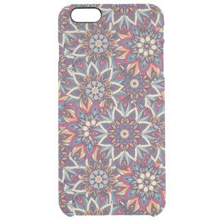 Capa Para iPhone 6 Plus Transparente Teste padrão floral étnico abstrato colorido da