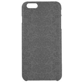 Capa Para iPhone 6 Plus Transparente Teste padrão floral preto & cinzento elegante dos