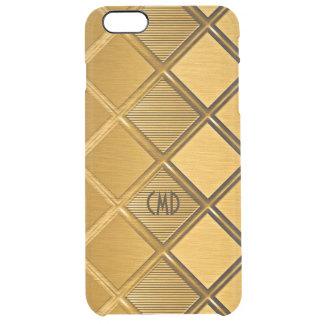 Capa Para iPhone 6 Plus Transparente Teste padrão geométrico metálico do ouro
