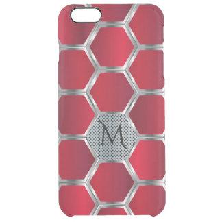 Capa Para iPhone 6 Plus Transparente Teste padrão geométrico octogonal vermelho & de