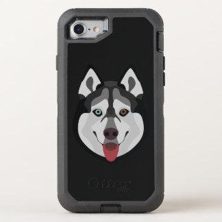 Capa Para iPhone 8/7 OtterBox Defender A ilustração persegue o rouco Siberian da cara