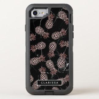 Capa Para iPhone 8/7 OtterBox Defender abacaxi cor-de-rosa do ouro do mármore preto