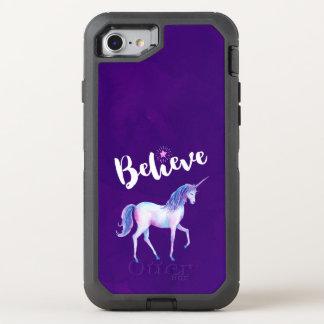 Capa Para iPhone 8/7 OtterBox Defender Acredite com unicórnio em aguarelas Pastel