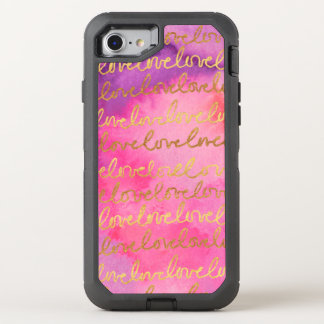 Capa Para iPhone 8/7 OtterBox Defender Aguarela moderna do ouro chique feminino do rosa