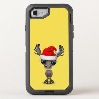 Capa Para iPhone 8/7 OtterBox Defender Alces do bebê que vestem um chapéu do papai noel