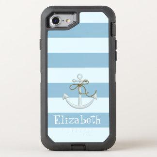 Capa Para iPhone 8/7 OtterBox Defender Âncora náutica adorável na luz - listras azuis