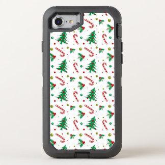 Capa Para iPhone 8/7 OtterBox Defender Bastões de doces, visco, e árvores de Natal