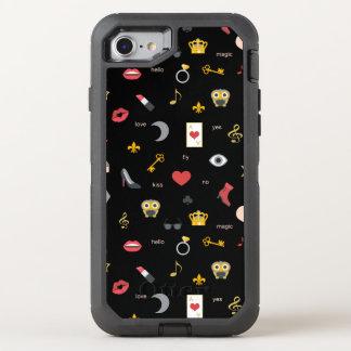 Capa Para iPhone 8/7 OtterBox Defender beijos à moda elegantes, lábios, corações,