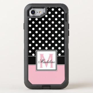 Capa Para iPhone 8/7 OtterBox Defender Bolinhas cor-de-rosa, preto e branco Monogrammed