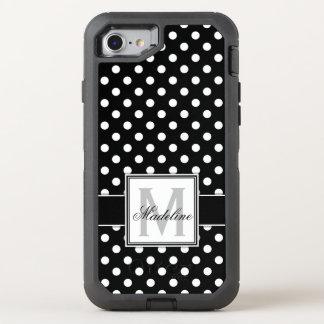 Capa Para iPhone 8/7 OtterBox Defender Bolinhas preto e branco Monogrammed