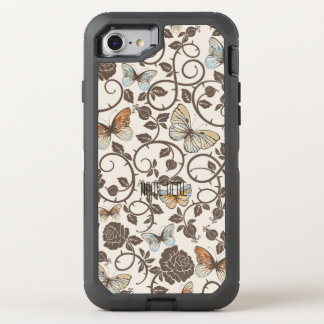 Capa Para iPhone 8/7 OtterBox Defender Borboletas e rosas no creme