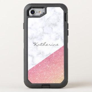 Capa Para iPhone 8/7 OtterBox Defender Brilho cor-de-rosa do ouro do mármore branco