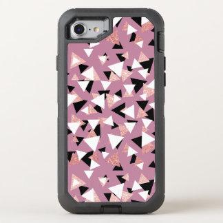 Capa Para iPhone 8/7 OtterBox Defender Brilho cor-de-rosa do ouro dos triângulos