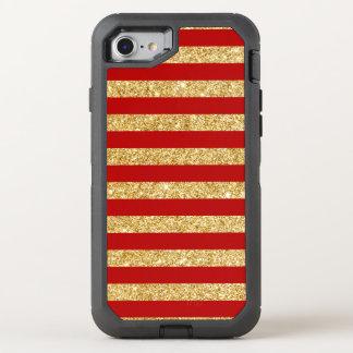 Capa Para iPhone 8/7 OtterBox Defender Brilho elegante do ouro do falso e teste padrão