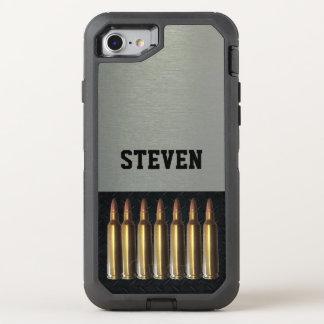 Capa Para iPhone 8/7 OtterBox Defender Caixa conhecida preta e de prata da munição do