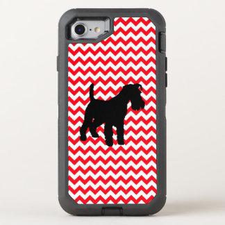 Capa Para iPhone 8/7 OtterBox Defender Carro de bombeiros Chevron vermelho com Schnauzer