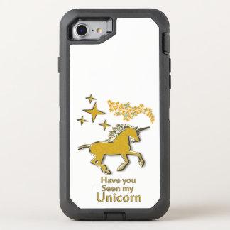 Capa Para iPhone 8/7 OtterBox Defender Cavalo do pônei do unicórnio do ouro com estrelas