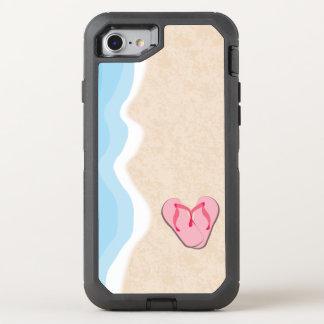 Capa Para iPhone 8/7 OtterBox Defender Chinelos cor-de-rosa na praia