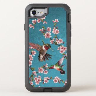 Capa Para iPhone 8/7 OtterBox Defender Colibris & flores do estilo do vintage