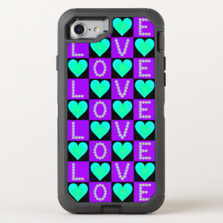 Capa Para iPhone 8/7 OtterBox Defender Corações de incandescência da cerceta Checkered