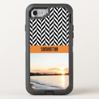 Capa Para iPhone 8/7 OtterBox Defender Cores personalizadas do por do sol de Herringbone