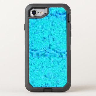 Capa Para iPhone 8/7 OtterBox Defender Couro azul de néon do Vegan da escala da sereia