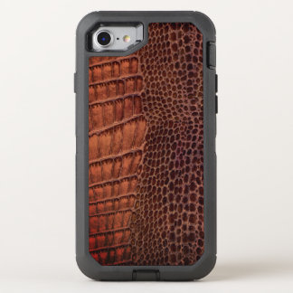 Capa Para iPhone 8/7 OtterBox Defender Couro clássico do réptil do jacaré de Brown