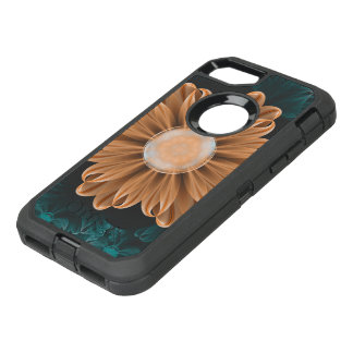 Capa Para iPhone 8/7 OtterBox Defender Crisântemo bonito do paraíso da laranja & do Aqua