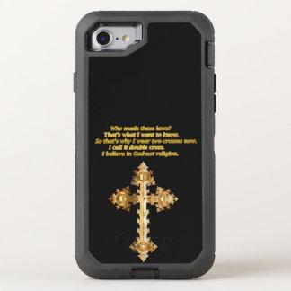 Capa Para iPhone 8/7 OtterBox Defender Cruz cristã do divertimento do ouro com provérbio