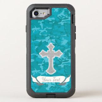 Capa Para iPhone 8/7 OtterBox Defender Customizável - Camo azul com cruz