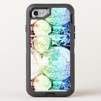 Capa Para iPhone 8/7 OtterBox Defender Design do atlas do mapa do mundo do arco-íris