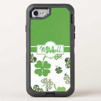 Capa Para iPhone 8/7 OtterBox Defender Dia de São Patrício verde personalizado do trevo