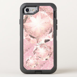 Capa Para iPhone 8/7 OtterBox Defender Diamante cor-de-rosa no Pastel claro com faísca do