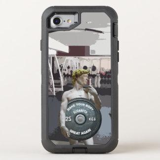 Capa Para iPhone 8/7 OtterBox Defender Exercício engraçado David do Gym como o meio corpo