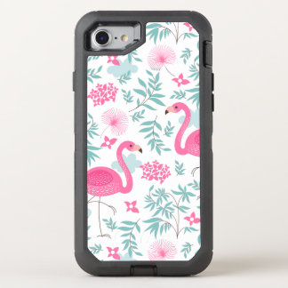 Capa Para iPhone 8/7 OtterBox Defender Flamingos cor-de-rosa com flores & as folhas