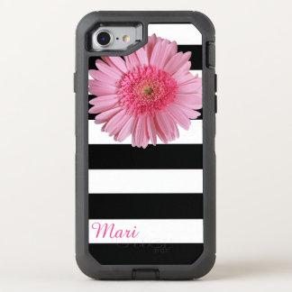 Capa Para iPhone 8/7 OtterBox Defender Flor cor-de-rosa listrada