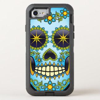 Capa Para iPhone 8/7 OtterBox Defender Floral azul do crânio do açúcar