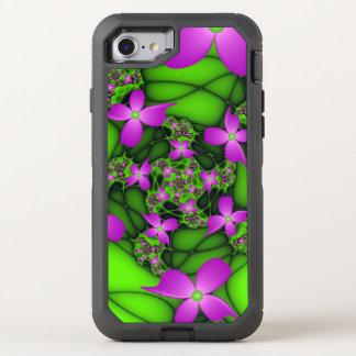 Capa Para iPhone 8/7 OtterBox Defender Flores verdes cor-de-rosa de néon abstratas