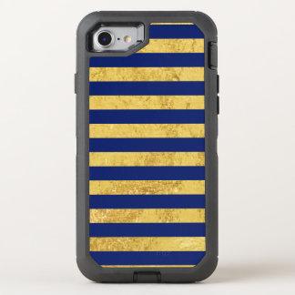 Capa Para iPhone 8/7 OtterBox Defender Folha de ouro elegante e teste padrão da listra