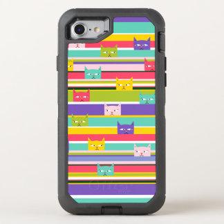 Capa Para iPhone 8/7 OtterBox Defender Gatos espreitando coloridos em listras