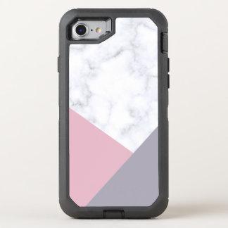 Capa Para iPhone 8/7 OtterBox Defender geométrico roxo de mármore branco elegante do rosa