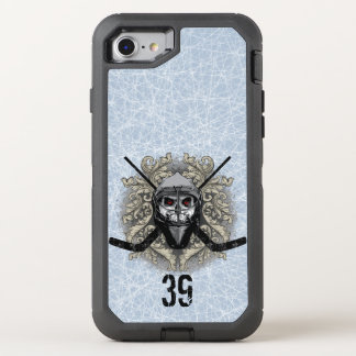 Capa Para iPhone 8/7 OtterBox Defender Goalie infernal do hóquei (personalizado)