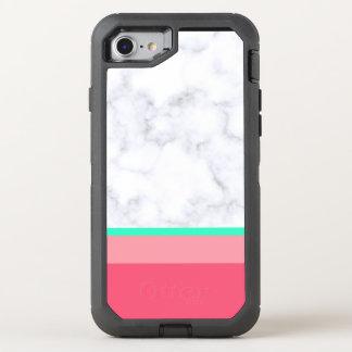 Capa Para iPhone 8/7 OtterBox Defender hortelã de mármore branca elegante do melão do