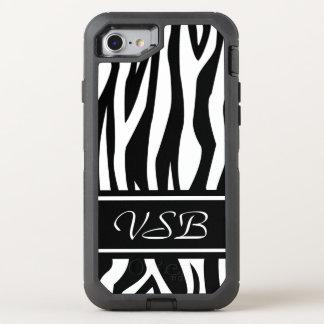 Capa Para iPhone 8/7 OtterBox Defender Impressão preto da zebra com monograma