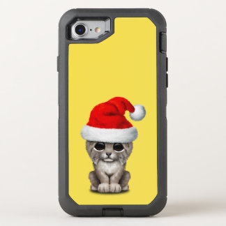 Capa Para iPhone 8/7 OtterBox Defender Lince bonito Cub que veste um chapéu do papai noel