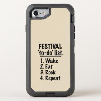 Capa Para iPhone 8/7 OtterBox Defender Lista do tumulto do ` do festival' (preto)