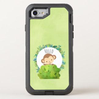 Capa Para iPhone 8/7 OtterBox Defender Macaco bonito que espreita para fora atrás de Bush